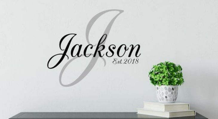 Monogram name wall art