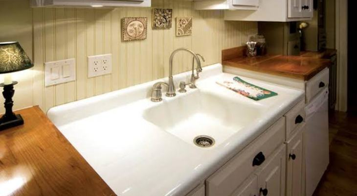 Old kitchen sink with drainboard