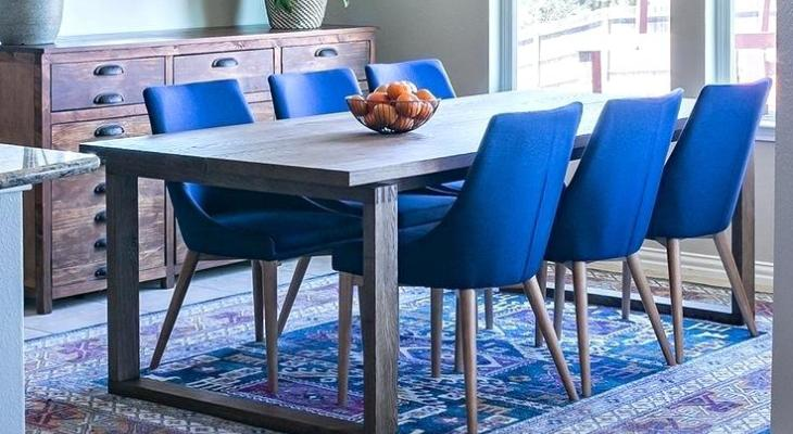 Peacock blue chair dining room