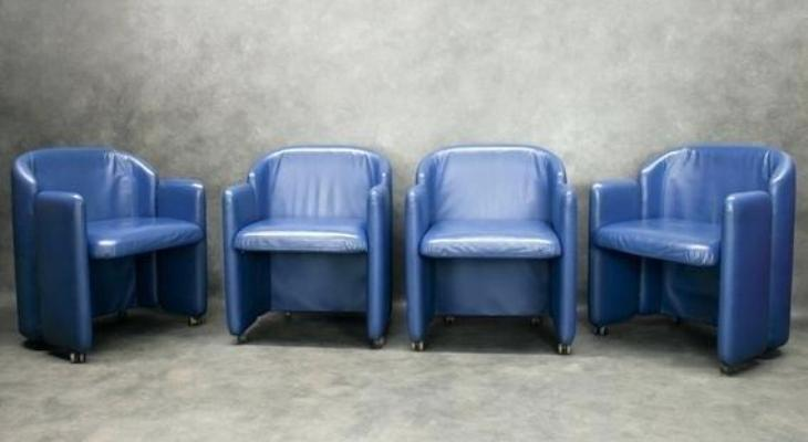 Peacock blue chair leather