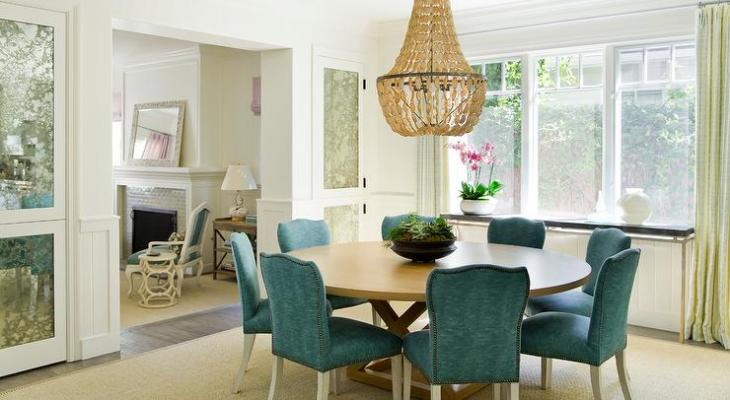 Peacock blue chairs dining