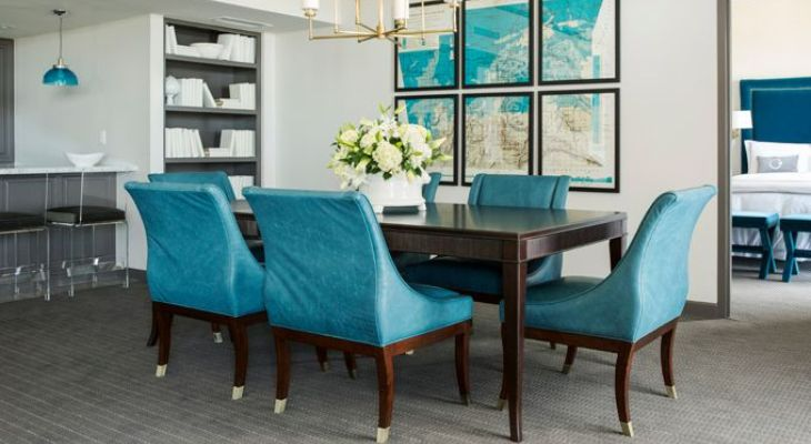 Peacock blue dining room chairs