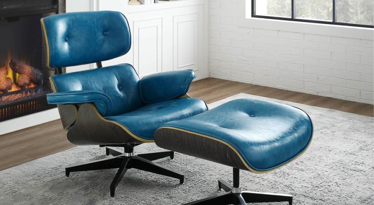 Peacock blue leather swivel chair