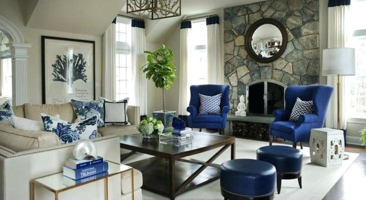 Peacock blue wingback chair