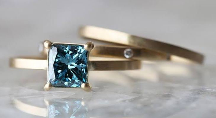 Princess cut blue diamond engagement rings