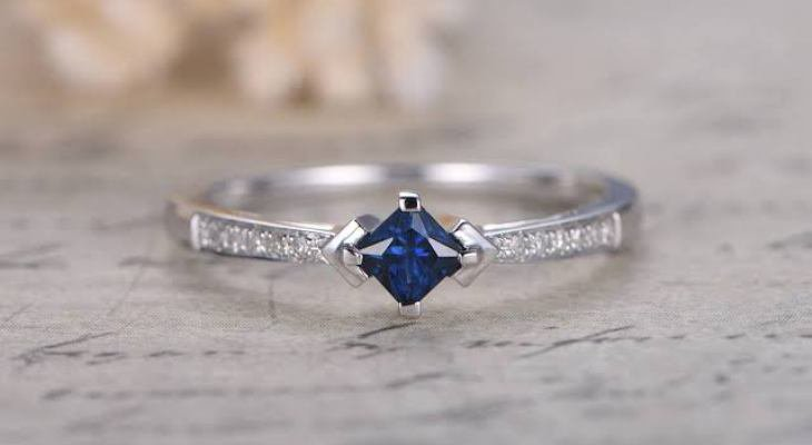 Princess cut diamond and sapphire engagement rings