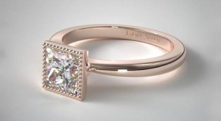 Princess cut diamond engagement rings rose gold
