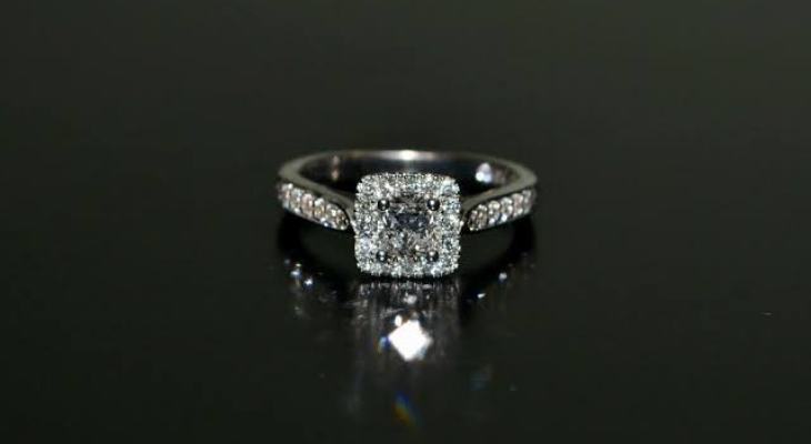 Princess cut leo diamond engagement ring