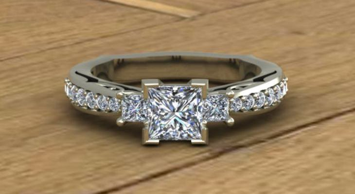 Princess cut three stone diamond engagement rings