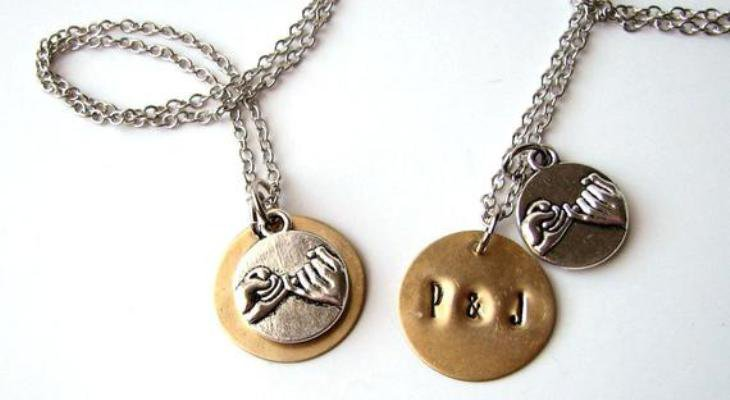 Promise rings with necklace