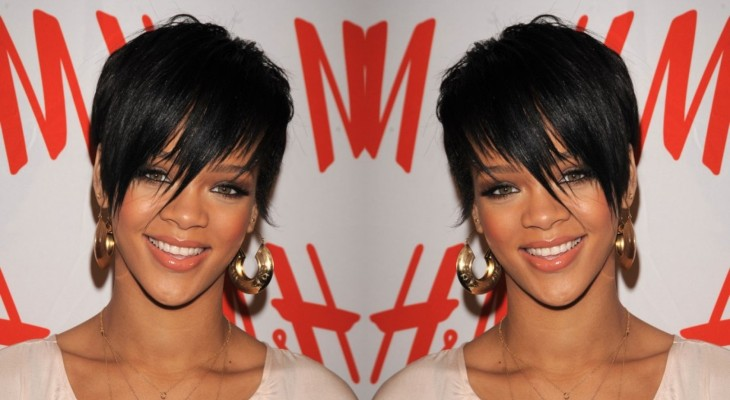 Rihanna's Short Cropped Asymmetrical Hairstyle