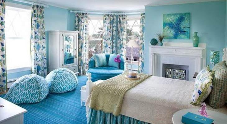 Shabby chic bedroom with blue walls