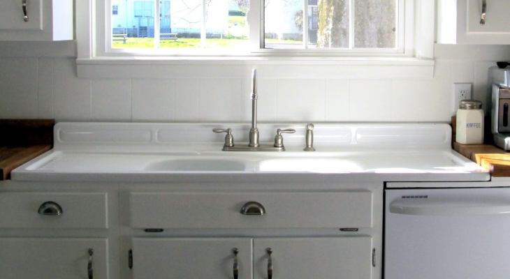 Vintage double bowl kitchen sink with drainboard