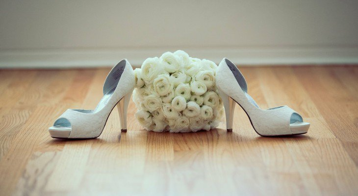 White Peep Toe Wedding Heels