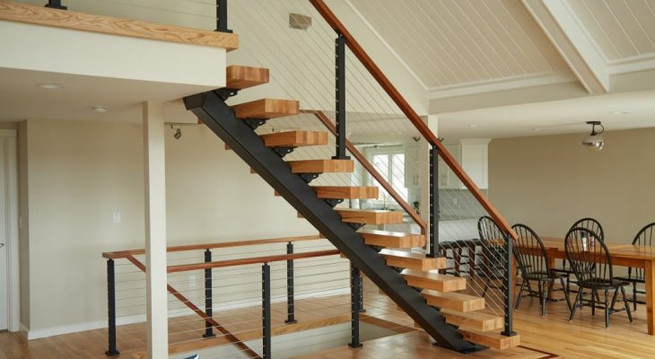 Wood and metal staircase design