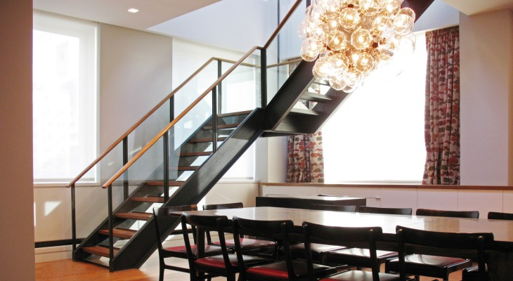 Wood and steel stair design
