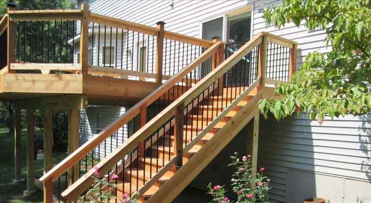 Wood stairs design exterior