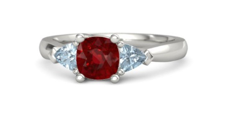 Aquamarine and ruby engagement rings