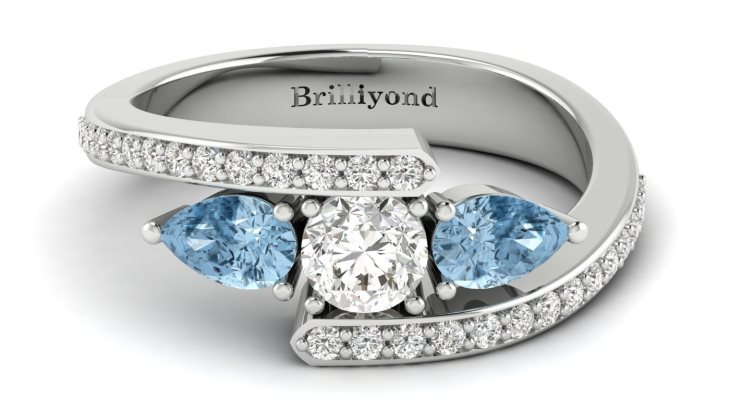 White Sapphire Aquamarine White Gold Colour Accented Engagement Ring Naiad