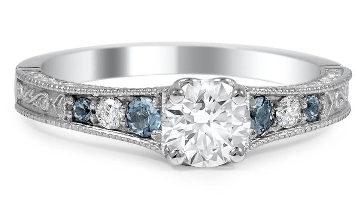 Engagement rings with aquamarine side stones
