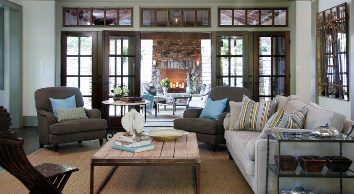 French living room design neutral
