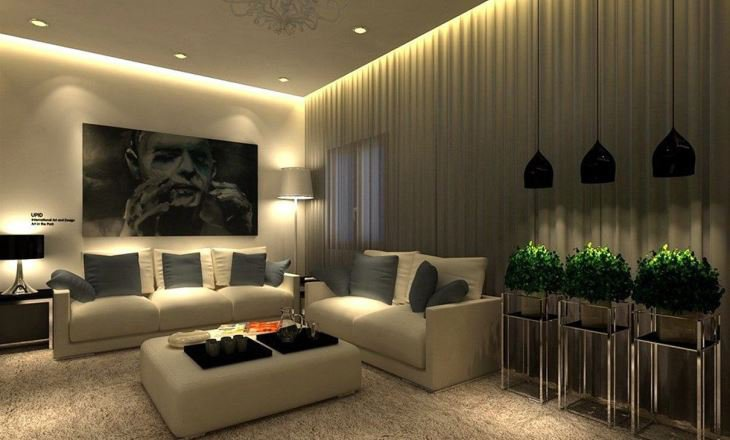 Low ceiling modern living room lighting