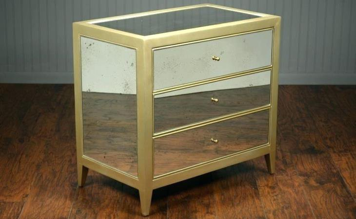 Mirrored glass nightstand