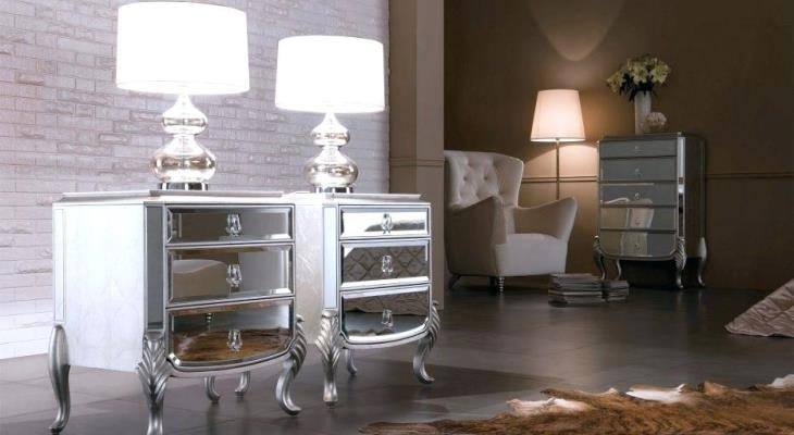 Narrow mirrored nightstand