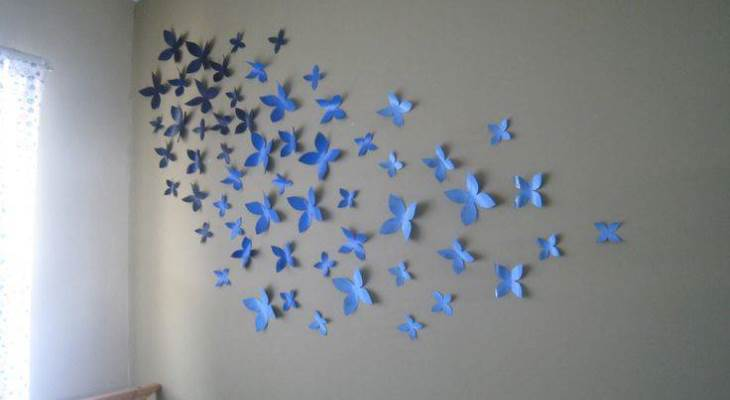 Paper butterfly wall decoration ideas