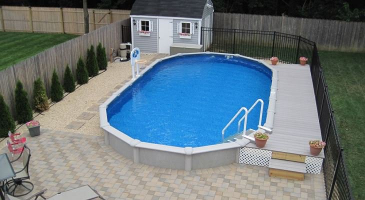 Semi inground pool installation
