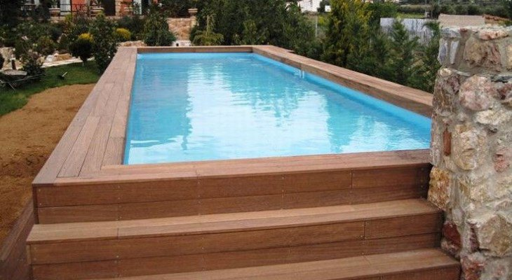 Semi inground pool rectangle