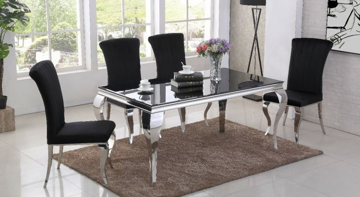 Black mirrored dining table