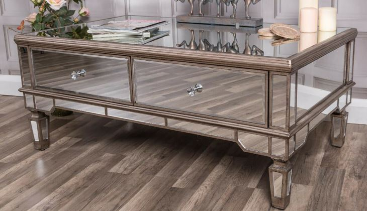 Champagne mirrored cocktail table