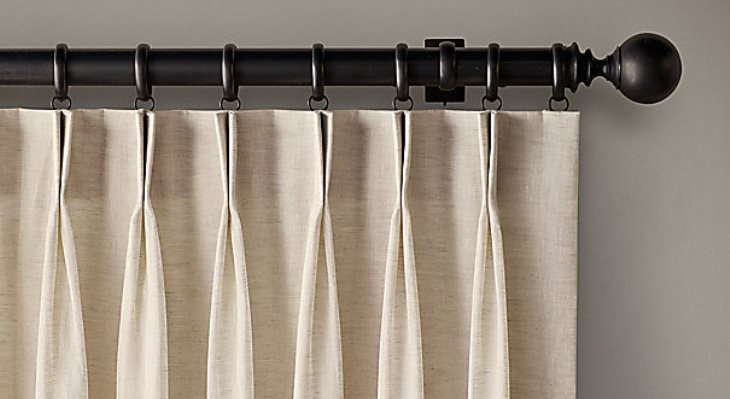 Double french pleat curtains