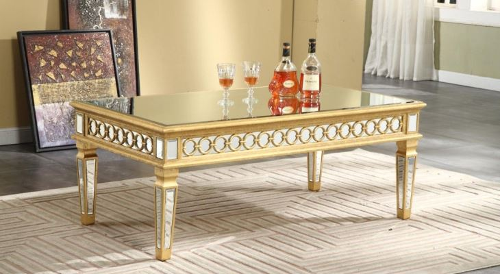 Gold and mirrored cocktail table