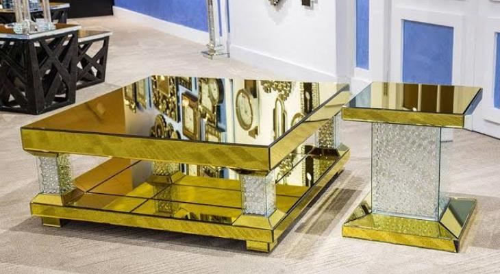Gold mirrored cocktail tables