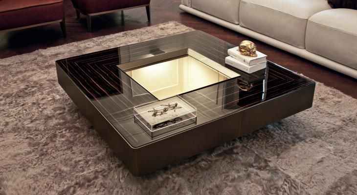 Mirrored box cocktail table
