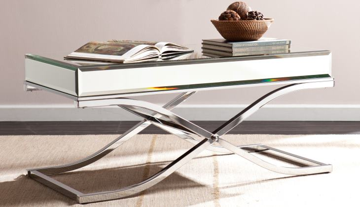 Mirrored cocktail table chrome