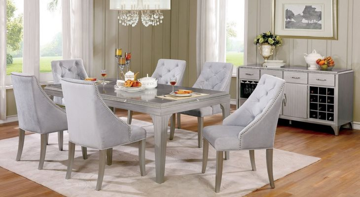 Mirrored dining room table set
