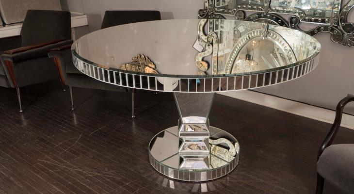 Mirrored dining table round