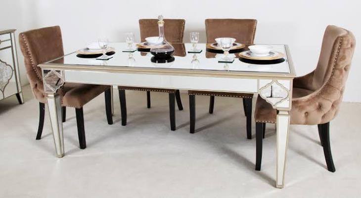 Mirrored dining table set