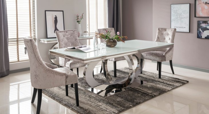 Mirrored glass dining table and chairs