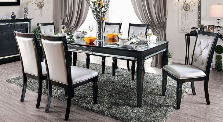 Mirrored glass dining table set