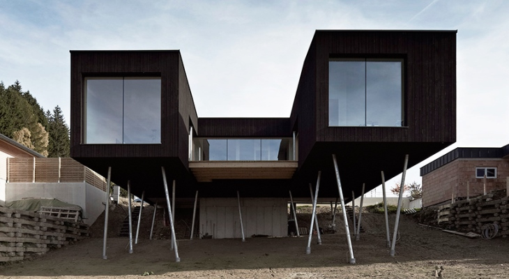 Modern container home on stilts