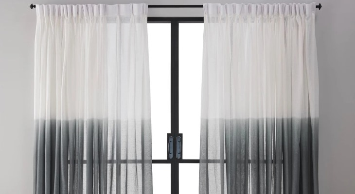 Sheer curtains white black