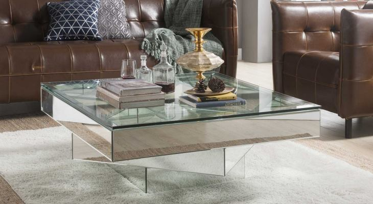 Square mirrored cocktail table