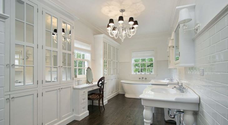 Chandelier lighting in bathroom