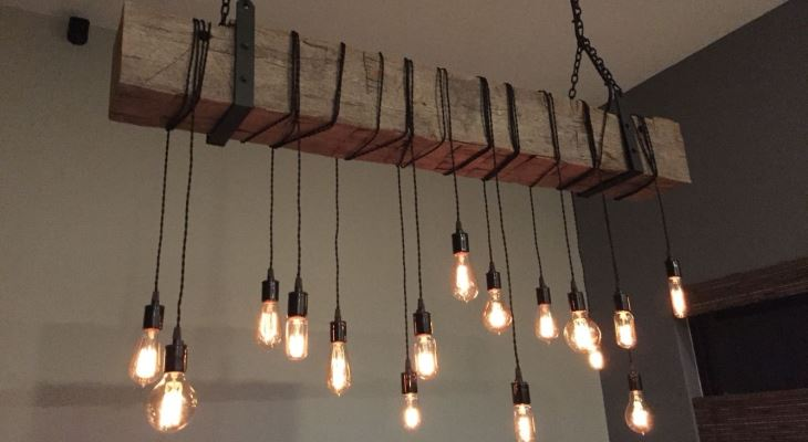 Chandelier lighting wood
